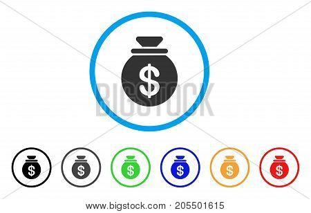 Money Bag rounded icon. Style is a flat money bag grey symbol inside light blue circle with black, gray, green, blue, red, orange variants. Vector designed for web and software interfaces.