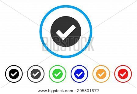 Ok rounded icon. Style is a flat OK grey symbol inside light blue circle with black, gray, green, blue, red, orange variants. Vector designed for web and software interfaces.