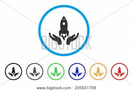 Rocket Startup rounded icon. Style is a flat rocket startup grey symbol inside light blue circle with black, gray, green, blue, red, orange color versions.
