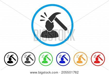 Shock rounded icon. Style is a flat shock gray symbol inside light blue circle with black, gray, green, blue, red, orange variants. Vector designed for web and software interfaces.