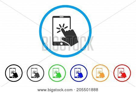 Click Smartphone rounded icon. Style is a flat click smartphone grey symbol inside light blue circle with black, gray, green, blue, red, orange variants.