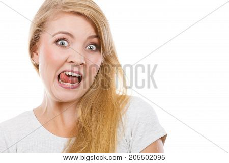 Funny Blonde Woman Sitcking Tongue Out