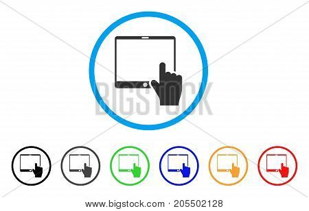 Hand Points Mobile Tablet rounded icon. Style is a flat hand points mobile tablet grey symbol inside light blue circle with black, gray, green, blue, red, orange color versions.
