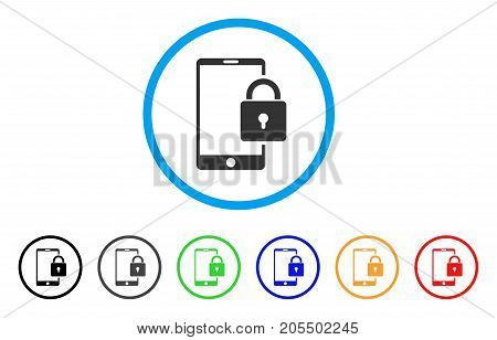 Lock Smartphone rounded icon. Style is a flat lock smartphone gray symbol inside light blue circle with black, gray, green, blue, red, orange variants. Vector designed for web and software interfaces.