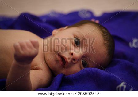 Portrait Of A Beautiful Baby Girl. Cute Newborn Baby Close-up. Portrait Of A Beautiful Baby,