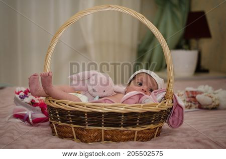 Portrait Of Little Newborn Baby Lying In The Basket, Useful As Greeting Card, Bedroom Background