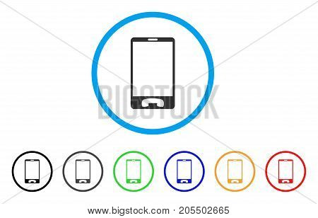 Mobile Phone rounded icon. Style is a flat mobile phone grey symbol inside light blue circle with black, gray, green, blue, red, orange variants. Vector designed for web and software interfaces.