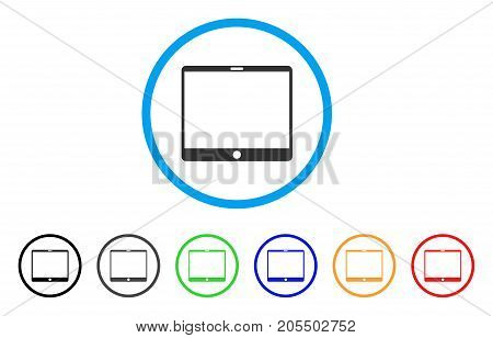 Mobile Tablet rounded icon. Style is a flat mobile tablet grey symbol inside light blue circle with black, gray, green, blue, red, orange color versions.