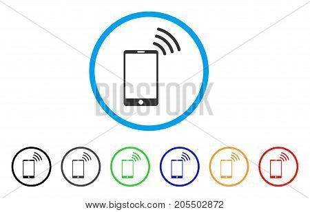 Mobile Wi-Fi Signal rounded icon. Style is a flat mobile wi-fi signal grey symbol inside light blue circle with black, gray, green, blue, red, orange versions.