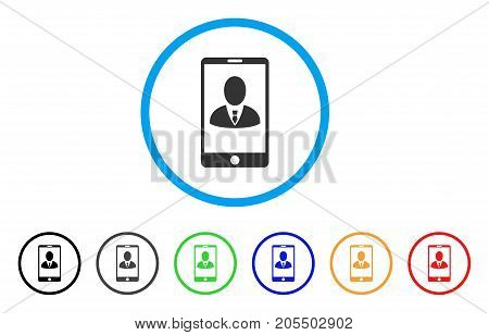 Phone Customer Profile rounded icon. Style is a flat phone customer profile grey symbol inside light blue circle with black, gray, green, blue, red, orange color versions.