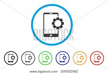 Phone Setup Gear rounded icon. Style is a flat phone setup gear gray symbol inside light blue circle with black, gray, green, blue, red, orange color versions.