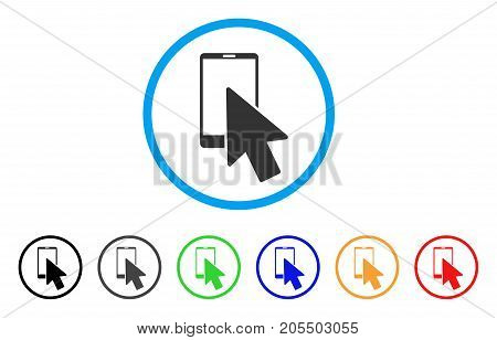 Smartphone Arrow Pointer rounded icon. Style is a flat smartphone arrow pointer gray symbol inside light blue circle with black, gray, green, blue, red, orange color versions.