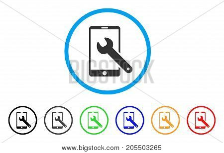 Smartphone Setup Wrench rounded icon. Style is a flat smartphone setup wrench grey symbol inside light blue circle with black, gray, green, blue, red, orange variants.