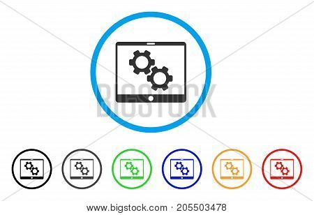 Tablet Settings Gears rounded icon. Style is a flat tablet settings gears gray symbol inside light blue circle with black, gray, green, blue, red, orange variants.