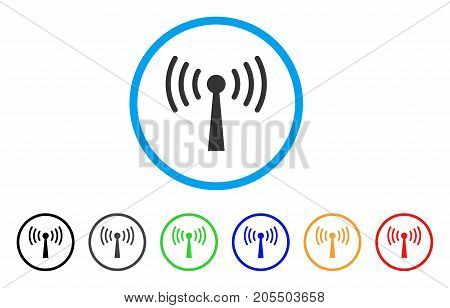 Wi-Fi Station rounded icon. Style is a flat wi-fi station grey symbol inside light blue circle with black, gray, green, blue, red, orange variants. Vector designed for web and software interfaces.