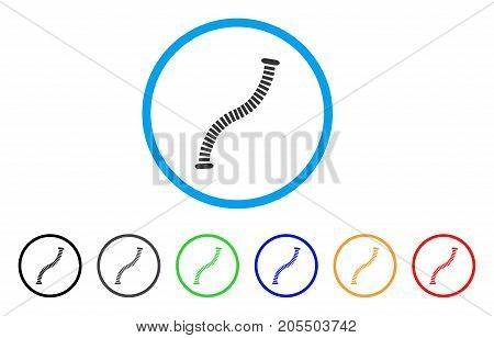 Flexible Pipe rounded icon. Style is a flat flexible pipe gray symbol inside light blue circle with black, gray, green, blue, red, orange variants. Vector designed for web and software interfaces.