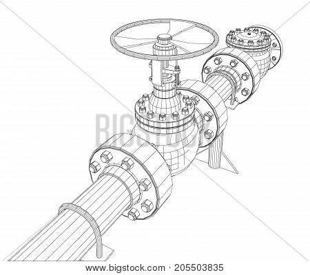 Industrial valve. Detailed vector illustration on white background. Vector rendering of 3d. Wire-frame style