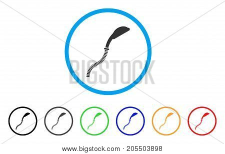Flexible Shower rounded icon. Style is a flat flexible shower gray symbol inside light blue circle with black, gray, green, blue, red, orange variants. Vector designed for web and software interfaces.
