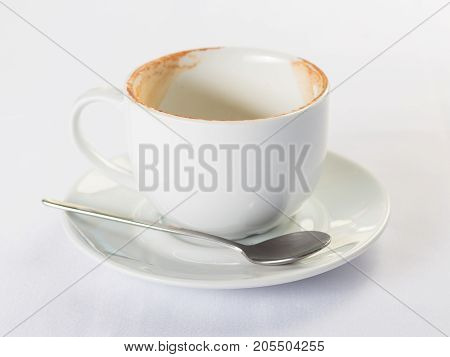 Dirty coffee cup isolate on white background