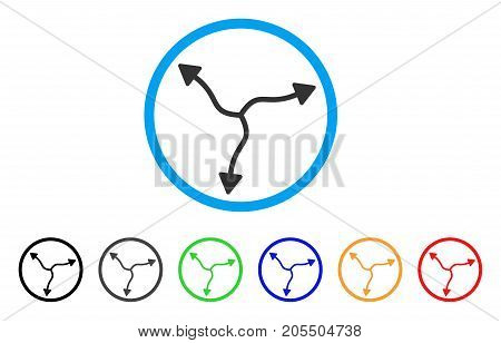 Curve Arrows rounded icon. Style is a flat curve arrows gray symbol inside light blue circle with black, gray, green, blue, red, orange versions. Vector designed for web and software interfaces.