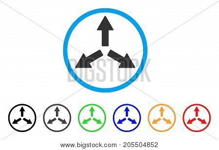 Expand Arrows rounded icon. Style is a flat expand arrows grey symbol inside light blue circle with black, gray, green, blue, red, orange color versions.