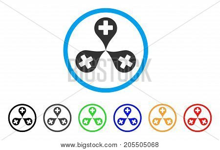 Hospital Map Markers rounded icon. Style is a flat hospital map markers gray symbol inside light blue circle with black, gray, green, blue, red, orange versions.