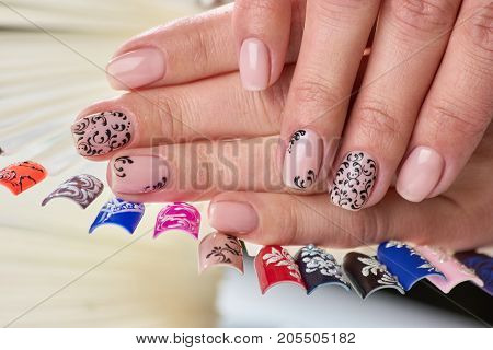 Female perfect nude patterned manicure. Nails samples collection and womans hands with beige manicure. Professional manicure salon and spa.