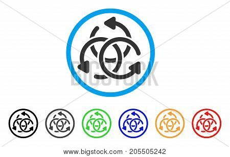 Knot Rotation rounded icon. Style is a flat knot rotation gray symbol inside light blue circle with black, gray, green, blue, red, orange color versions.