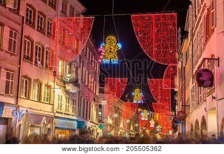 Christmas decorations on streets of Strasbourg - Alsace, France