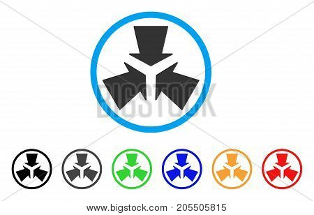 Shrink Arrows rounded icon. Style is a flat shrink arrows grey symbol inside light blue circle with black, gray, green, blue, red, orange color versions.
