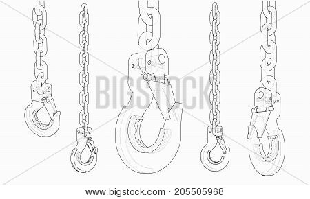Hook with chain. Vector rendering of 3d. Wire-frame style. The layers of visible and invisible lines are separated