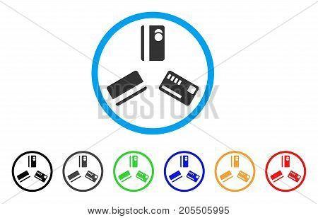 Triple Banking Card rounded icon. Style is a flat triple banking card grey symbol inside light blue circle with black, gray, green, blue, red, orange variants.