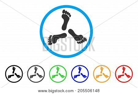 Triple Human Footprint rounded icon. Style is a flat triple human footprint grey symbol inside light blue circle with black, gray, green, blue, red, orange variants.