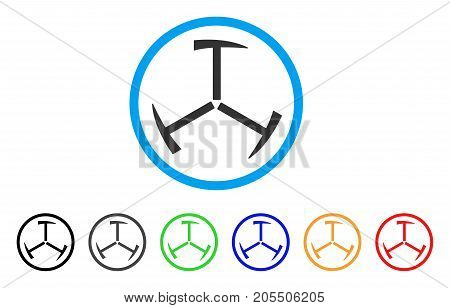 Triple Mining Hammer rounded icon. Style is a flat triple mining hammer grey symbol inside light blue circle with black, gray, green, blue, red, orange color versions.