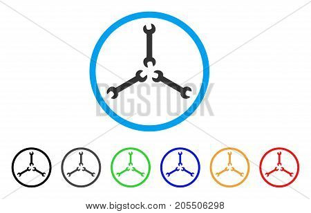 Triple Spanner rounded icon. Style is a flat triple spanner grey symbol inside light blue circle with black, gray, green, blue, red, orange variants. Vector designed for web and software interfaces.