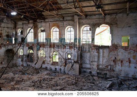 Ruined interior of abandoned Ramon sugar factory