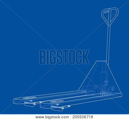 Hand pallet truck. Vector rendering of 3d. Wire-frame style. The layers of visible and invisible lines are separated