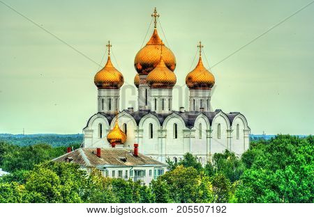 View of the Assumption Cathedral in Yaroslavl, the Golden Ring of Russia