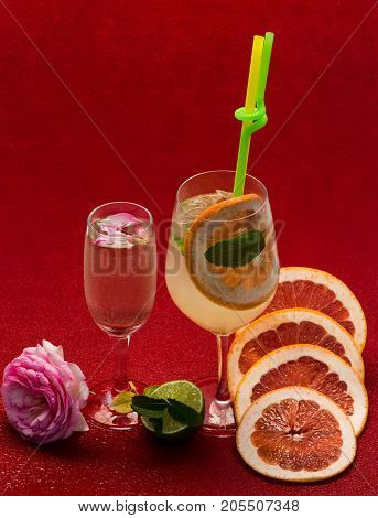Cocktails On Red Background.