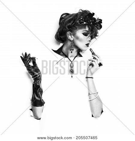 Retro Woman In White Paper