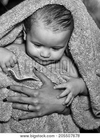 Little Boy In Yellow Towel
