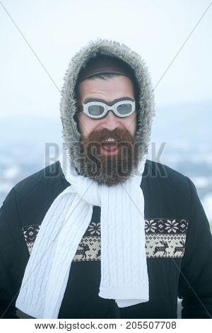 Christmas Man In Hat And Glasses With Long Beard