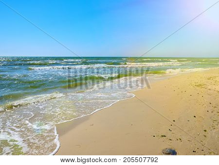 view from a sandy beach on the Black Sea in the summer Ukraine