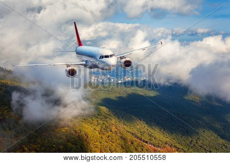 Airplane Is Flying In Clouds Over Mountains With Forest At Sunset