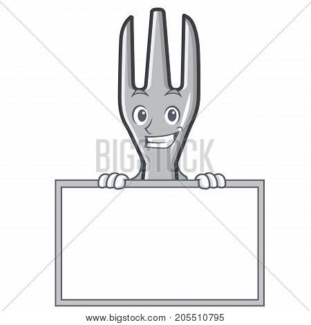 Grinning with board fork character cartoon style vector illustration