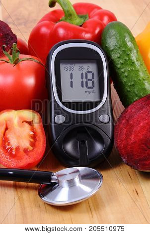 Vegetables, Glucose Meter With Result Of Measurement Sugar Level And Stethoscope