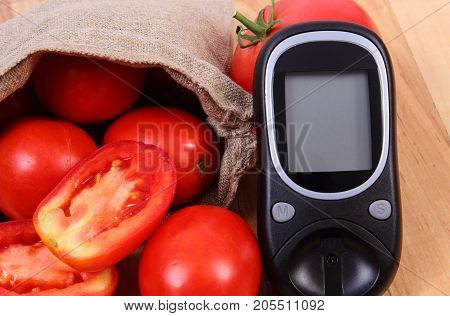 Tomatoes In Jute Bag And Glucose Meter For Checking Sugar Level, Healthy Lifestyle And Nutrition Con