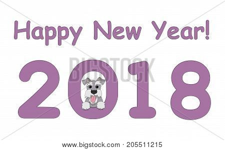 Digits 2018 with funny cartoon dog and text Happy New Year. Drawn schnauzer look out from number 2018. Isolated on the white background. eps 10
