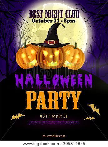 Halloween party flyer with pumpkins, hat, bats vector