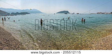 Budva, Montenegro - August 27, 2017: Panorama of the modern beach town of Budva, Montenegro, Europe. Budva is one of the best and most popular resorts of the Adriatic Riviera.